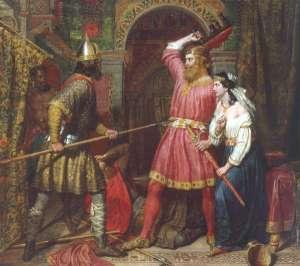 El asesinato del rey Alboin, por Charles Landseer.
