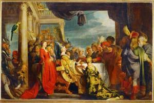 Alboin y Rosamunda, por Escuela de Rubens.